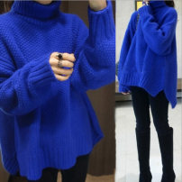 sweater Winter of 2018 S M L XL royal blue Long sleeves Socket singleton  Medium length other 95% and above High collar thickening commute routine Solid color Straight cylinder Regular wool Keep warm and warm 18-24 years old Two hundred and three