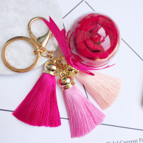Key buckle It knows your dreams Korean pink 5cm flower ball tassel rose pink apricot light green sapphire blue lake blue purple Acrylic other