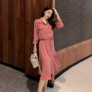 Dress Autumn of 2019 Pink, black S,M,L,XL,2XL Mid length dress singleton  Nine point sleeve commute square neck High waist Solid color Single breasted A-line skirt routine Others 25-29 years old Type A Korean version 81% (inclusive) - 90% (inclusive) other polyester fiber