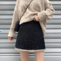 skirt Winter 2020 M,L,XL,2XL,3XL,4XL black Short skirt commute High waist A-line skirt Solid color Type A 18-24 years old Wool polyester fiber zipper Korean version