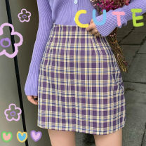 skirt Summer 2020 M,L,XL,2XL,3XL,4XL Purple grid Short skirt commute High waist A-line skirt lattice Type A Korean version