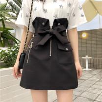 skirt Spring 2021 M,L,XL,2XL,3XL,4XL Black (skirt lining) Short skirt Versatile High waist Flower bud skirt Solid color Type A