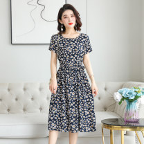 Dress Summer 2021 No.1, No.2, No.3, No.4, No.5, no.6, No.7, No.8, No.9, No.10 L,XL,2XL,3XL,4XL Mid length dress singleton  Short sleeve commute Crew neck High waist Decor Socket Big swing routine 40-49 years old Type A Other / other Pocket, lace up, stitching HYJP808 More than 95% cotton