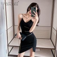 Dress Summer 2020 black S,M,L,XL Short skirt singleton  Sleeveless commute square neck High waist Solid color Socket Irregular skirt camisole 18-24 years old Type H Luo qianxu Korean version 8948cx-1