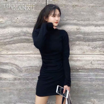 Dress Spring 2021 Black, gray S,M,L,XL longuette singleton  Long sleeves commute other High waist Solid color other other routine Others 18-24 years old Type A Luo qianxu Korean version Splicing 82-82 More than 95% cotton