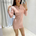 Dress Winter 2020 Black, pink S,M,L,XL Short skirt singleton  Long sleeves commute Crew neck middle-waisted Solid color zipper One pace skirt routine 18-24 years old Luo qianxu zipper 82-17 polyester fiber