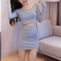 Dress Spring 2020 Blue [counter quality], black [counter quality] S,M,L,XL,2XL Short skirt Two piece set Long sleeves commute Crew neck middle-waisted Solid color Socket Pencil skirt routine Others 18-24 years old Type H Luo qianxu Korean version 8877-1 More than 95% brocade cotton