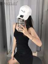Dress Spring 2021 Gray, black S,M,L,XL Short skirt singleton  Sleeveless commute V-neck High waist Solid color Socket One pace skirt camisole 18-24 years old Type H Luo qianxu Korean version