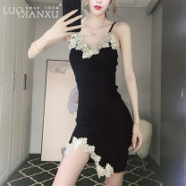 Dress Summer 2020 black S,M,L,XL,2XL Short skirt singleton  Sleeveless commute square neck High waist Solid color Socket Pencil skirt camisole 18-24 years old Type H Luo qianxu Korean version 8894-7 More than 95% brocade cotton