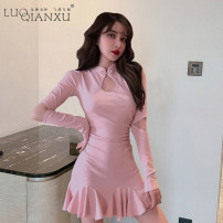 Dress Autumn 2020 Gray, black, red, pink S,M,L,XL Short skirt singleton  Long sleeves commute Crew neck High waist Solid color Socket Ruffle Skirt routine Others 18-24 years old Type H Luo qianxu Lotus leaf edge More than 95% brocade polyester fiber