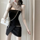 Dress Summer 2021 black S,M,L,XL Short skirt singleton  Sleeveless commute V-neck High waist Solid color Socket One pace skirt routine camisole 18-24 years old Type X Luo qianxu backless 83-47 More than 95%