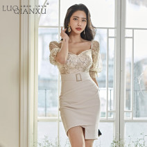 Dress Spring 2020 Apricot S,M,L,XL,2XL Short skirt singleton  elbow sleeve commute square neck High waist Solid color zipper Irregular skirt pagoda sleeve Others 25-29 years old Type H Luo qianxu Korean version 8896-1
