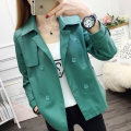 short coat Spring 2020 M L XL XXL Blue green Long sleeves have cash less than that is registered in the accounts routine singleton  Self cultivation commute routine tailored collar double-breasted Solid color Maple flower 96% and above Button FD01079981 other PU Exclusive payment of tmall