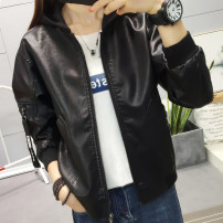 short coat Autumn of 2018 M L XL XXL black Long sleeves have cash less than that is registered in the accounts routine singleton  easy street routine Detachable cap zipper Solid color 18-24 years old Maple flower 96% and above Pocket thread zipper FD09189844 other PU Exclusive payment of tmall