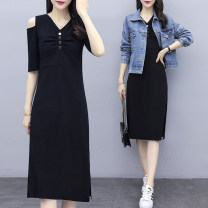 Women's large Spring 2020 Dress Two piece set commute easy moderate Cardigan Long sleeves Solid color Korean version Polo collar routine Denim cotton others Three dimensional cutting routine Mosher pocket Medium length Other 100% Pure e-commerce (online only) other