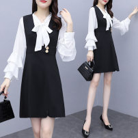 Women's large Spring 2021 black L [100-120 Jin recommended] XL [120-140 Jin recommended] 2XL [140-160 Jin recommended] 3XL [160-180 Jin recommended] 4XL [180-200 Jin recommended] Other oversize styles Two piece set commute Self cultivation moderate Socket Long sleeves Solid color lady V-neck routine