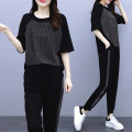 Women's large Summer 2020 Short Sleeve Black L [recommended 80-100 kg] XL [recommended 100-120 kg] 2XL [recommended 120-140 kg] 3XL [recommended 140-160 kg] 4XL [recommended 160-180 kg] 5XL [recommended 180-200 kg] Other oversize styles Two piece set commute easy thin Socket Short sleeve Solid color