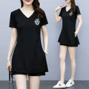 Women's large Summer 2021 black Other oversize styles Two piece set commute easy moderate Socket Short sleeve Solid letters Korean version V-neck routine Polyester cotton Three dimensional cutting routine Mosher Three dimensional decoration 81% (inclusive) - 90% (inclusive) Other 100% shorts