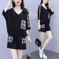 Women's large Summer 2021 black L [recommended 90-100 kg] XL [recommended 100-120 kg] 2XL [recommended 120-140 kg] 3XL [recommended 140-160 kg] 4XL [recommended 160-180 kg] 5XL [recommended 180-200 kg] Other oversize styles Two piece set commute easy moderate Socket Short sleeve Check solid V-neck