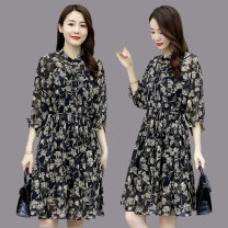 Dress Summer 2021 black M L XL XXL Mid length dress singleton  three quarter sleeve commute Crew neck High waist Decor Single breasted A-line skirt raglan sleeve Others 25-29 years old Type A TODAY'S YOU literature printing T3105405 More than 95% Chiffon polyester fiber Polyester 100%