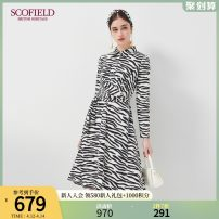 Dress Autumn 2020 Mixed color 165 155 160 170 175 Middle-skirt singleton  Long sleeves commute square neck Zebra pattern routine 30-34 years old SCOFIELD SFOWA3702Q More than 95% polyester fiber Polyester 97% polyurethane elastic fiber (spandex) 3%