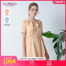 Dress Spring 2020 Yellow blue 155 160 170 175 165 Middle-skirt Short sleeve V-neck Decor zipper A-line skirt routine 30-34 years old SCOFIELD SFOWA2604Q More than 95% polyester fiber Polyester 100% Same model in shopping mall (sold online and offline)