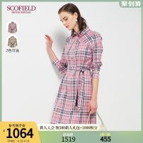 Dress Summer 2020 Pink Beige 165 155 160 170 175 Mid length dress Long sleeves commute square neck lattice Single breasted routine Others 30-34 years old SCOFIELD SFOWA2310Q More than 95% cotton Cotton 100% Same model in shopping mall (sold online and offline)