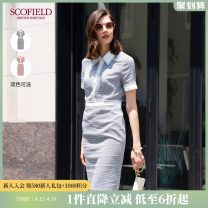 Dress Summer 2020 Navy Blue Red 155 160 170 175 165 Middle-skirt 30-34 years old SCOFIELD 51% (inclusive) - 70% (inclusive) polyester fiber Same model in shopping mall (sold online and offline)