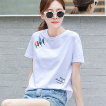 T-shirt M L XL XXL Summer of 2019 Short sleeve Crew neck easy Regular routine commute cotton 96% and above 25-29 years old Korean version originality letter Shishangjf / Fashion liberation Embroidery Cotton 100% Pure e-commerce (online only)