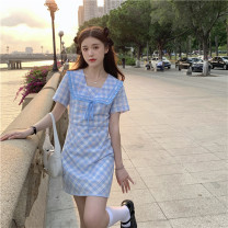 Dress Summer 2021 Picture color S, M Short skirt singleton  Short sleeve commute V-neck High waist lattice Socket A-line skirt routine 18-24 years old Type A Splicing 31% (inclusive) - 50% (inclusive) other polyester fiber