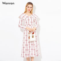 Dress Spring 2021 White [order] white stock S M L XL longuette singleton  Long sleeves street square neck High waist stripe zipper Big swing routine Others 25-29 years old Type X Smile Lace up zipper print 22108D More than 95% polyester fiber Polyethylene terephthalate (polyester) 100%