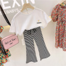 suit Other / other Suits and trousers are slim 100cm / tag 5110cm / tag 7120cm / tag 9130cm / tag 11140cm / tag 13150cm / tag 15 female summer leisure time Short sleeve + pants 2 pieces Thin money No model Socket nothing other Cotton blended fabric children Expression of love other Chinese Mainland