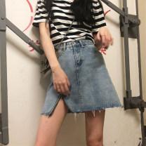 skirt Summer 2021 Blue, black Short skirt commute High waist A-line skirt Type A 18-24 years old Other / other Korean version