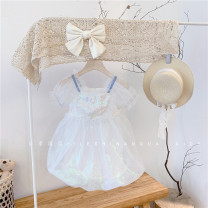Dress White 21066 in stock female Other / other 85CM (tag 90), 95cm (tag 100), 105cm (tag 110), 115cm (tag 120), 125cm (tag 130) Other 100% summer Korean version Short sleeve Solid color blending Splicing style 2, 3, 4, 5, 6, 7, 8, 9, 10 years old