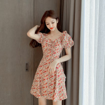 Dress Summer 2021 Picture color S M L XL Middle-skirt singleton  Short sleeve commute V-neck High waist Broken flowers Big swing puff sleeve Others 25-29 years old Durani Korean version More than 95% Chiffon other Other 100% Pure e-commerce (online only)