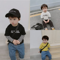T-shirt Black, white, yellow Other / other 80cm,90cm,100cm,110cm,120cm,130cm neutral summer Long sleeves Crew neck leisure time There are models in the real shooting nothing cotton Cotton 90% other 10% Class A 12 months, 18 months, 2 years old, 3 years old, 4 years old, 5 years old