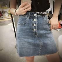 skirt Spring 2021 S,M,L blue Short skirt Versatile High waist Denim skirt Solid color Type A 30% and below cotton
