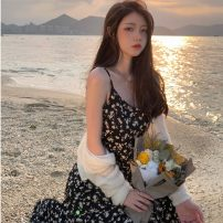 Dress Summer 2021 Black floral dress, white cardigan S. M, l, average size Mid length dress Two piece set Sleeveless commute V-neck High waist Broken flowers zipper other camisole Type A Retro backless 81% (inclusive) - 90% (inclusive) Chiffon