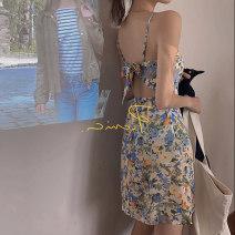 Dress Spring 2021 Picture color S, M Short skirt singleton  Sleeveless commute One word collar High waist Broken flowers Socket A-line skirt Type A Retro