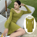 Dress Spring 2020 Green dress in stock Middle-skirt singleton  Long sleeves Sweet Crew neck Solid color other 25-29 years old June Eleven 51% (inclusive) - 70% (inclusive) princess