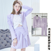 Fashion suit Winter of 2019 XS,S,M,L Purple coat, purple trousers, purple skirt, Purple Bra, purple coat in stock, purple skirt in stock, Purple Bra in stock 25-35 years old Other / other 81% (inclusive) - 90% (inclusive)