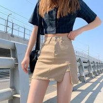 skirt Summer 2021 XS S M L XL Khaki blue black Short skirt Versatile High waist A-line skirt 18-24 years old F9102 M.L.island