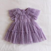 Dress Purple, turquoise female Other / other 73cm,80cm,90cm,100cm,110cm,120cm Cotton 100% summer Korean version Short sleeve Dot cotton Splicing style X344 12 months, 6 months, 9 months, 18 months, 2 years old, 3 years old, 4 years old, 5 years old