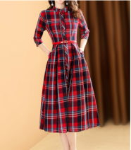 Dress Spring 2021 gules S,M,L,XL,2XL Mid length dress singleton  three quarter sleeve commute stand collar middle-waisted lattice Single breasted A-line skirt routine Others 35-39 years old Type A Lance from 25 lady Pockets, straps, buttons LCBSU01WOPU9013 More than 95% polyester fiber