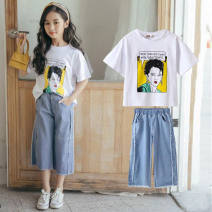 suit Other / other White T blue denim beauty suit, white T blue denim love suit female summer college Short sleeve + pants 2 pieces routine There are models in the real shooting Socket No detachable cap head portrait cotton children YZ -c Class B Cotton 81% others 19% Chinese Mainland