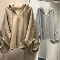 Sweater / sweater Autumn 2020 Khaki, white, pink, black M,L,XL,2XL Long sleeves routine Socket singleton  routine Hood easy commute routine Solid color 31% (inclusive) - 50% (inclusive) Korean version cotton cotton Cotton liner