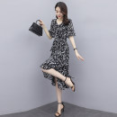 Dress Summer 2021 Pink, black M,L,XL,2XL Mid length dress singleton  Short sleeve commute V-neck middle-waisted Decor Socket Irregular skirt routine 25-29 years old Korean version Chiffon