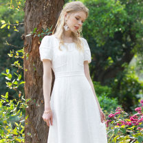 Dress Spring 2021 white S M L Mid length dress singleton  Short sleeve commute Crew neck middle-waisted Solid color Socket A-line skirt other Others 25-29 years old Type A Marie Eve / Mary Eve Simplicity zipper More than 95% other polyester fiber Polyethylene terephthalate (polyester) 100%