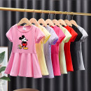 Dress Red, rose, light yellow, light green, light gray, black, violet, decorative accessories female Other / other 80cm,90cm,100cm,110cm,120cm,130cm Cotton 95% other 5% summer princess Short sleeve Cartoon animation cotton Lotus leaf edge Chinese Mainland Guangdong Province