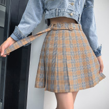 skirt Winter of 2019 XS,S,M,L Black, khaki, green Short skirt commute High waist A-line skirt lattice Type A 18-24 years old Everyday y1031 Plaid pleated skirt with belt 81% (inclusive) - 90% (inclusive) other other Button lady